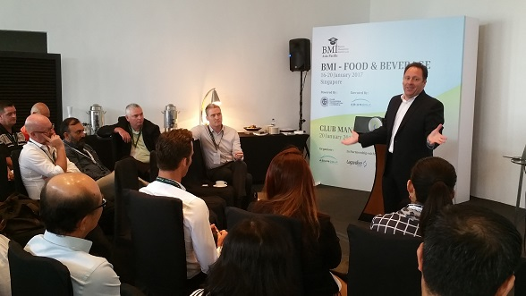 Patrick Bowers making his presentation at the Club Management Mini Summit.