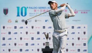 Tirto Tamardi teeing-off at the 10th Faldo Series Asia Grand Final. Picture by Xaume Olleros.